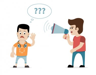 Man with megaphone and hard of hearing boy. Concept for hearing loss.