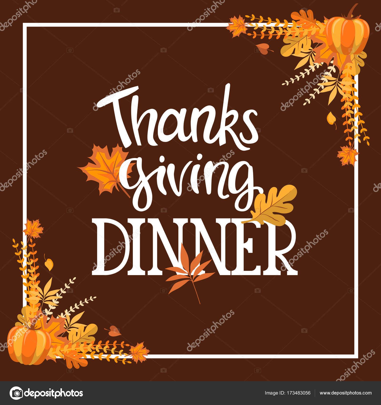 Handlettering Thanksgiving Dinner Invitation Design Stock