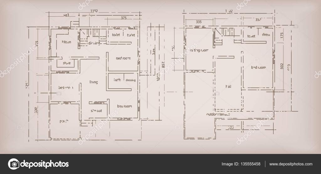 Maison de construction structure croquis plan dessin vintage fond ...