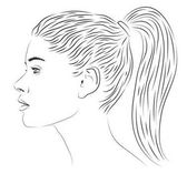 Fotografie Dívka lady Žena Žena lidé osoba ocas účes krásných mladých profil portrét obrázek portrétování podobu obrazu. Vektor znamení closeup vývěsní štít čtverečních ilustrace izolované bílé černá čára