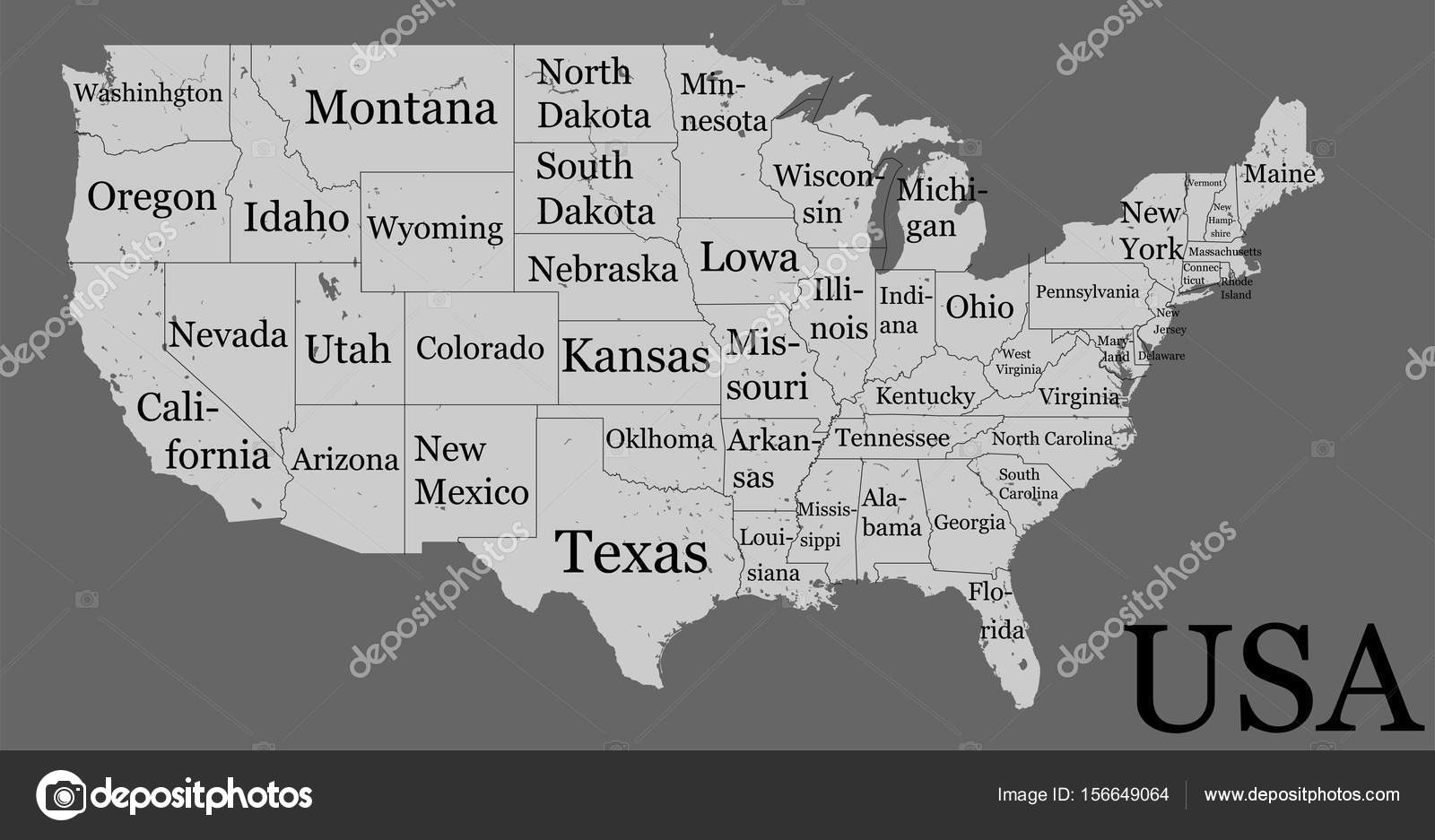 Blank similar high detailed USA map isolated on gray ...