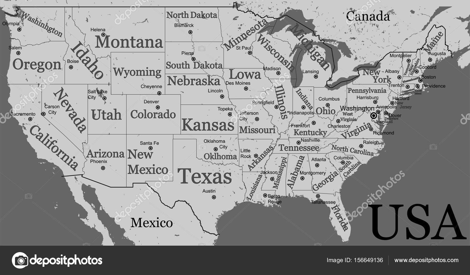 Blank USA map isolated on gray background. United States of ...