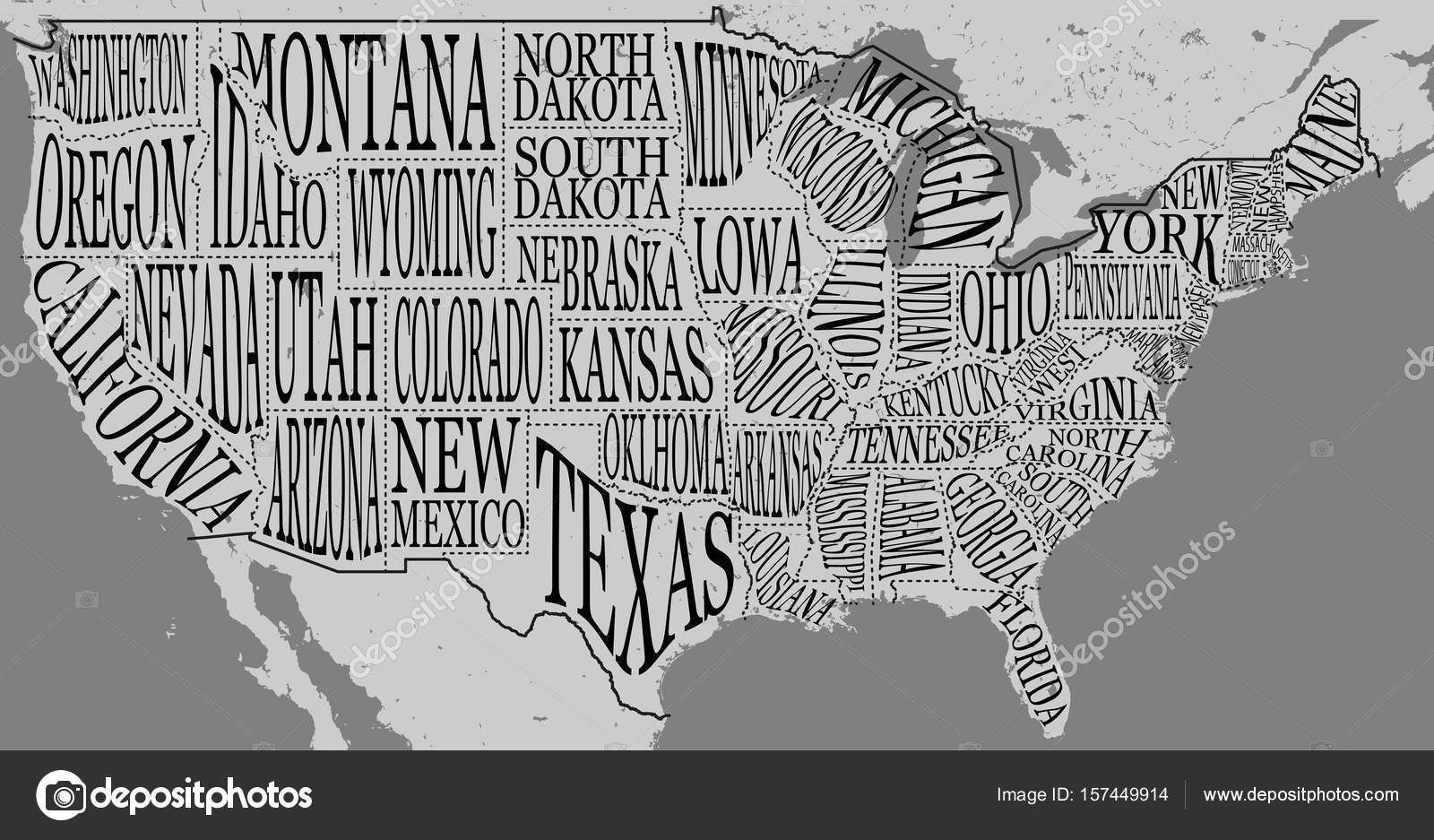 Handdrawn illustration of USA map with hand lettering names ...
