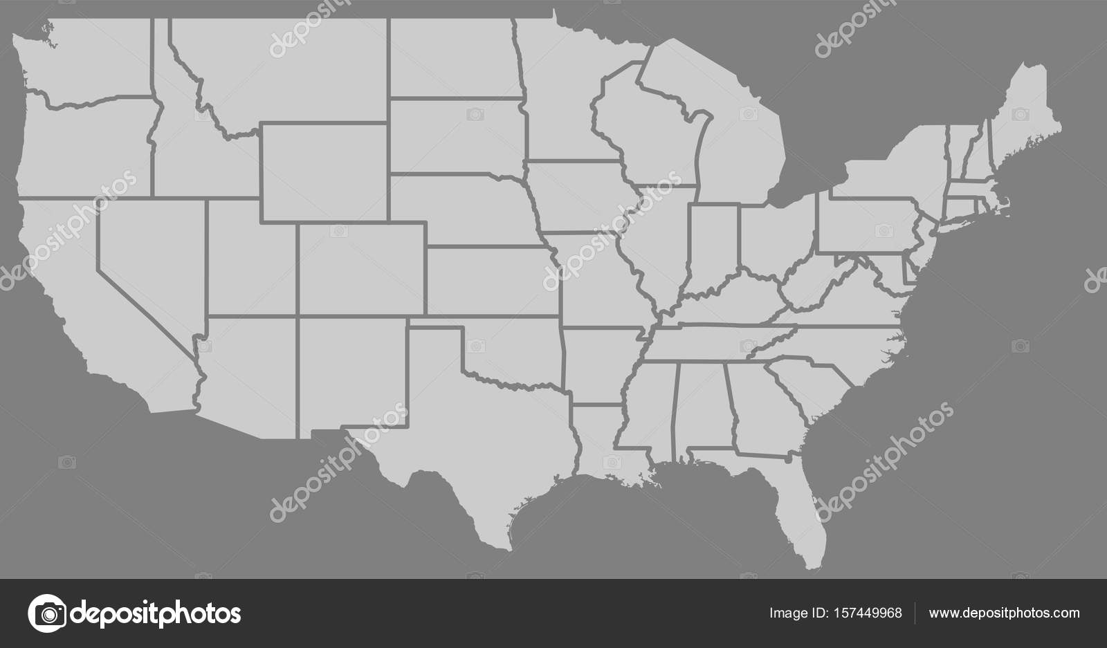 Blank Similar High Detailed USA Map Isolated On Gray Background - Us map with state lines