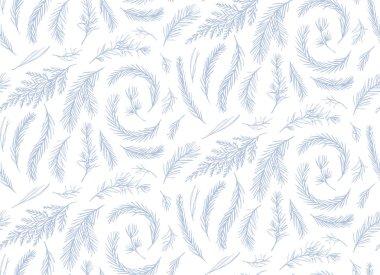 Seamless pattern, vector floral  design: drawn winter tree pine