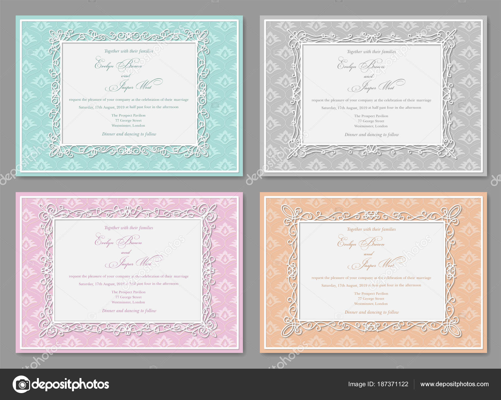 Vector Set Of Wedding Invitations Postcards Greeting Cards Ph