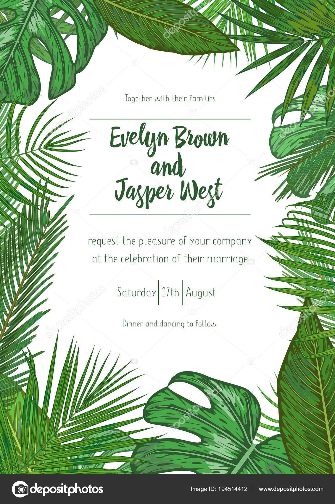 wedding event invitation card template exotic tropical jungle r