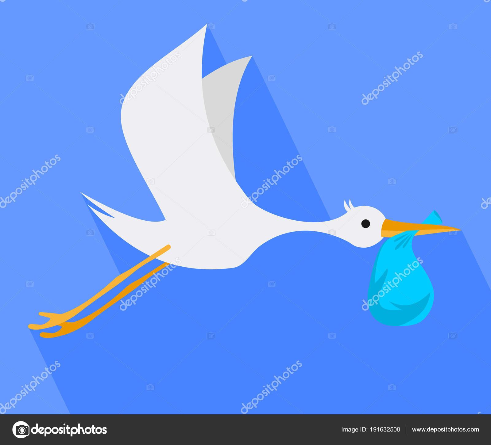 cegonha voando no céu no bico do saco de cegonha vetores de stock