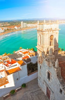View of the sea from a height of Castle. Valencia, Spain.  Peniscola. Castelln. The medieval castle of the Knights Templar on the beach. Beautiful view of the sea and the bay.