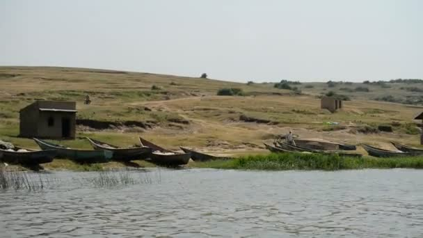 fishing boats on the bank of the Kazinga chanel