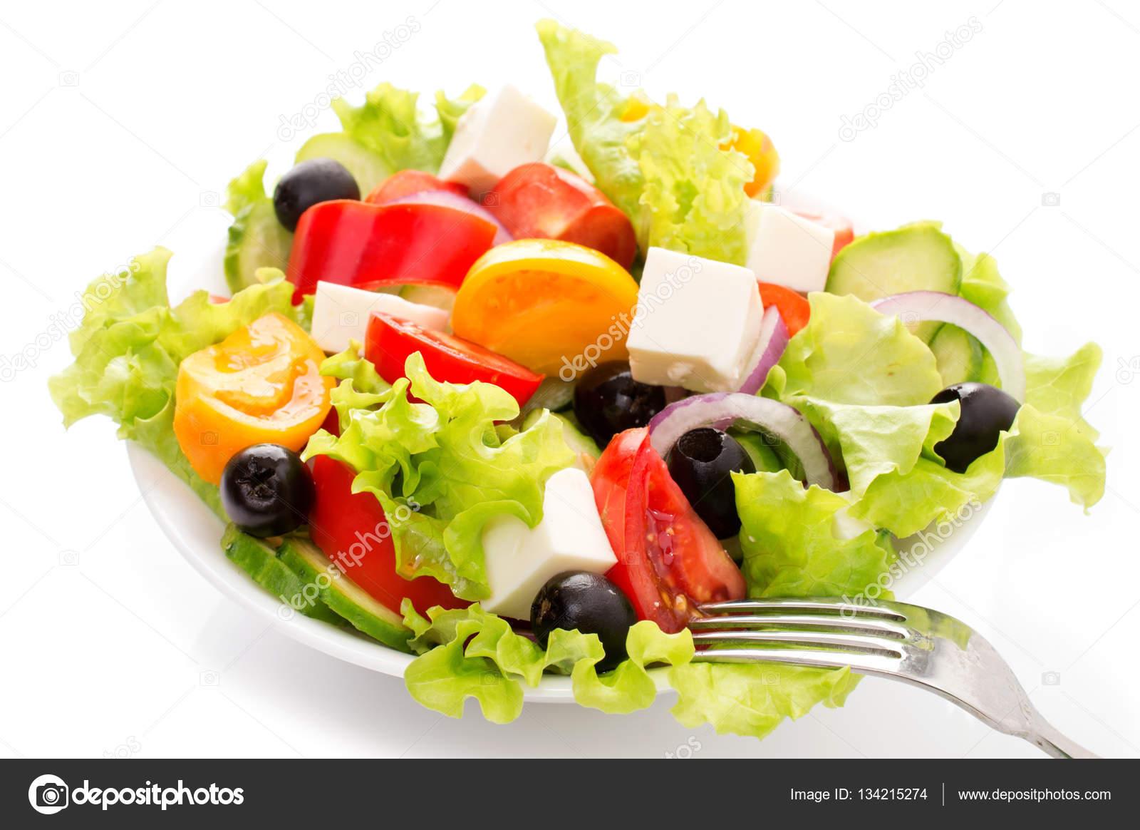 Fresh Vegetable Salad Isolated On White Background Stock