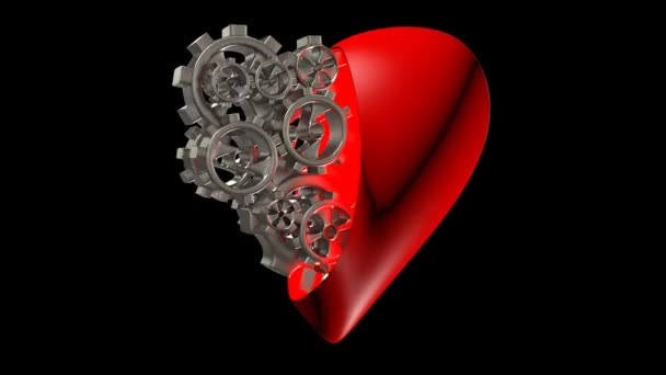 the heart of the gears, the concept of good health, mechanical heart, alpha channel video loop at 3.11 seconds