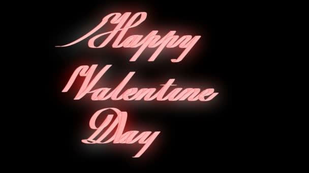 Šťastné valentýny den nápis Happy Valentines den psal zářící stuha s alfa kanály