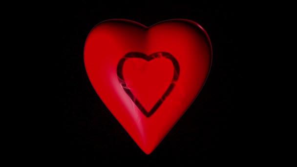 srdce se projevuje částic na černém pozadí, alfa kanál video smyčky