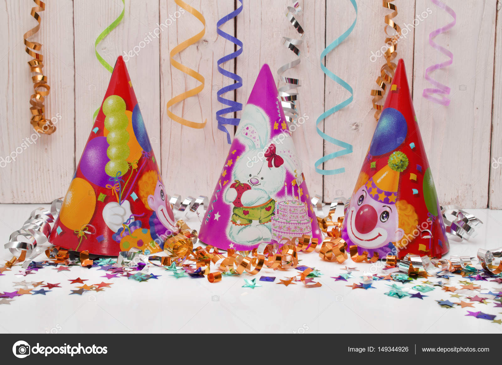 Greeting Card For Carnival Party Hat And Candles On White Background Toning Instagram Filter