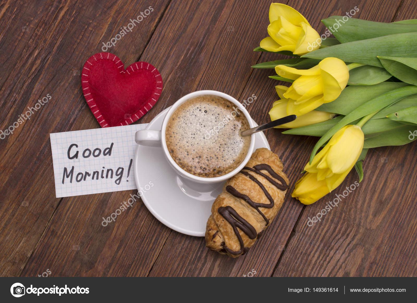 Tasse Kaffee Rotes Herz Und Guten Morgen Massage Stockfoto
