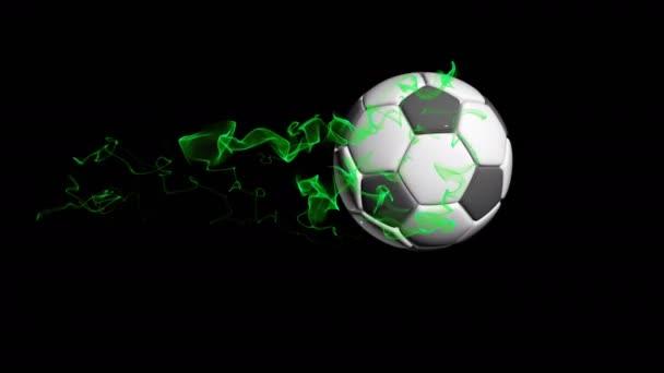 Rotující fotbalový míč na černém pozadí, video smyčky, s alfa kanálem
