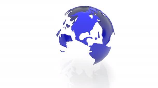 rotierendes Modell der Kontinente des Planeten Erde auf weißem Hintergrund