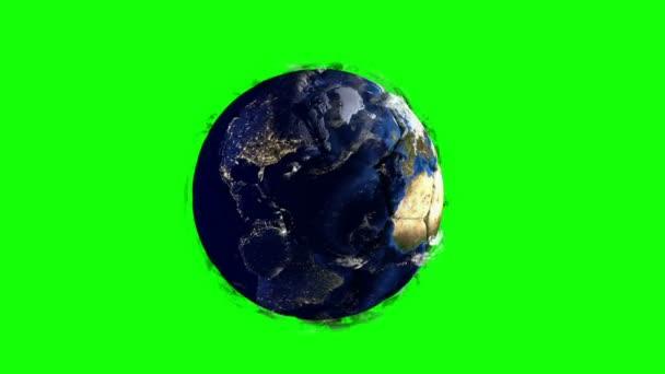 Planeta Země v podobě koule v prostoru, mapy a textury od Nasa, video smyčky hromakey