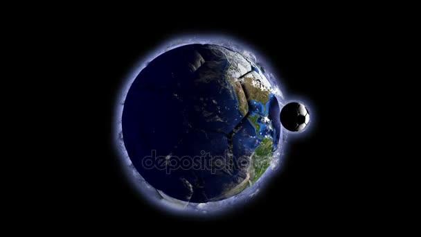 Planeta Země v podobě koule v prostoru, mapy a textury od Nasa, video smyčky