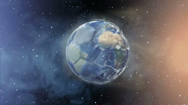 Fotbalový míč v podobě planety v prostoru,, mapy a textury od Nasa,