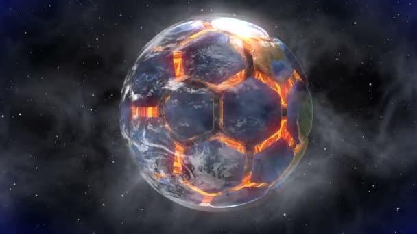 Fußball in form eines planeten im raum, karten und texturen von nasa,