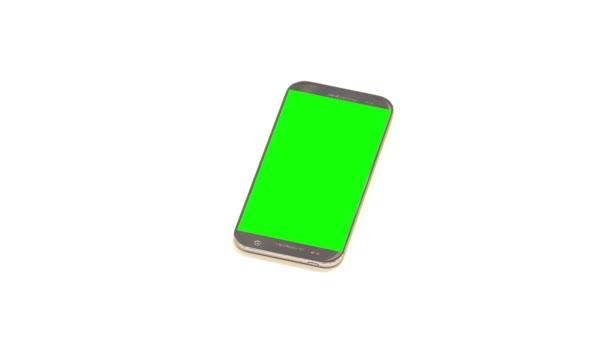 smartphone su sfondo bianco con un chroma key sul display e marchi per la prospettiva