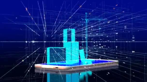 prvky stavby na displeji smartphonu, koncepce zavádění technologií do stavebnictví