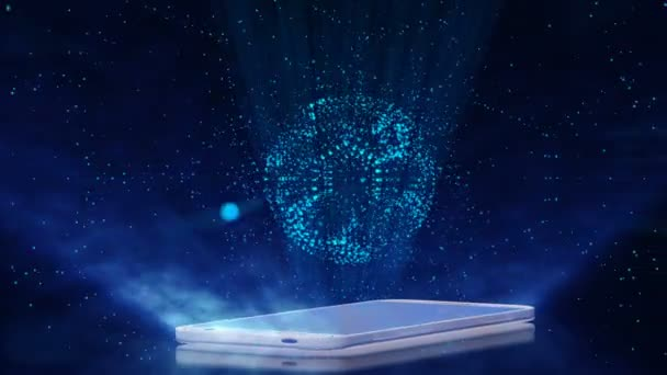3d Halogram of a soccer ball over a smartphone screen,