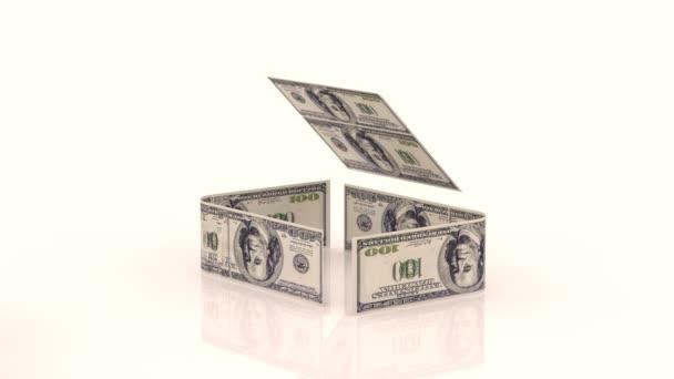 das Haus besteht aus Geldscheinen, das Konzept der Investition in den Bau, Geldkosten für den Bau, Chromakey, Alpha-Kanal
