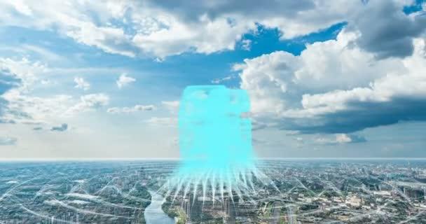 Smart city and communication network concept 6G . Wireless communication.