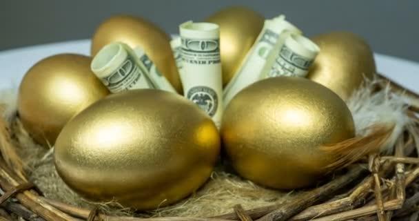 Zlatá vejce v ptačím hnízdě, s bankovkami, koncept investic, penzijní spoření