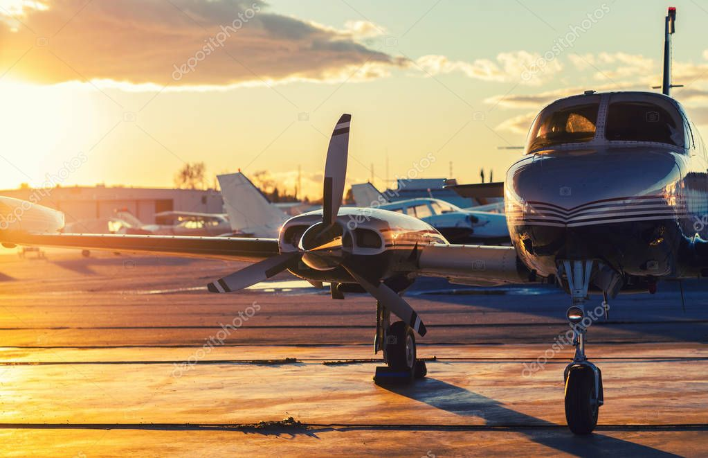 Small Aviation: Private Jet is Parked on a Tarmac in a Beautiful