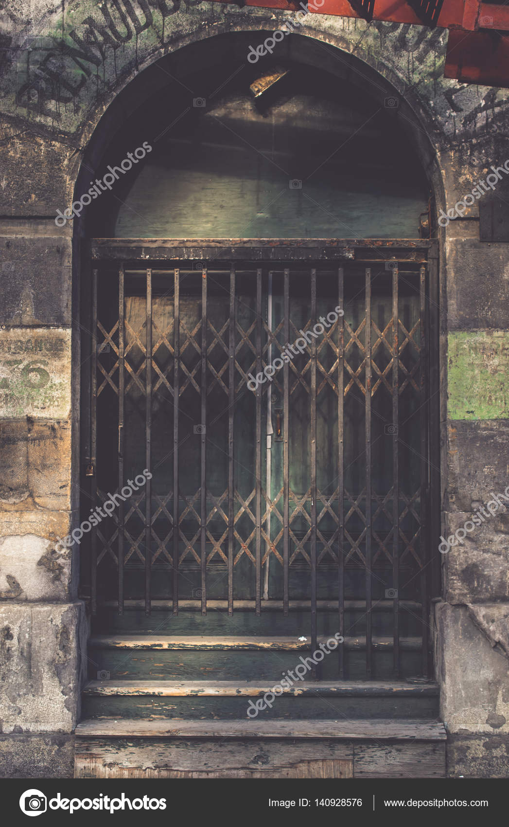 Vintage sliding barred door in the dark tone for interior or ex u2014 Stock Photo & vintage sliding barred door in the dark tone for interior or ex ...