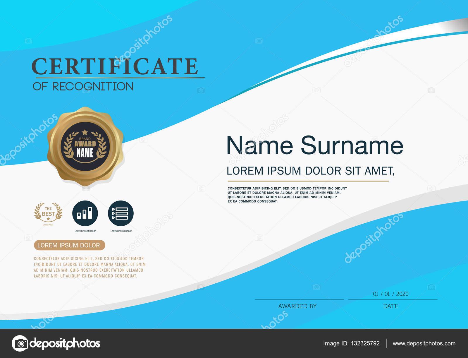 Zertifikat Design Vorlage Layout-Vorlage im A4-Format — Stockvektor ...