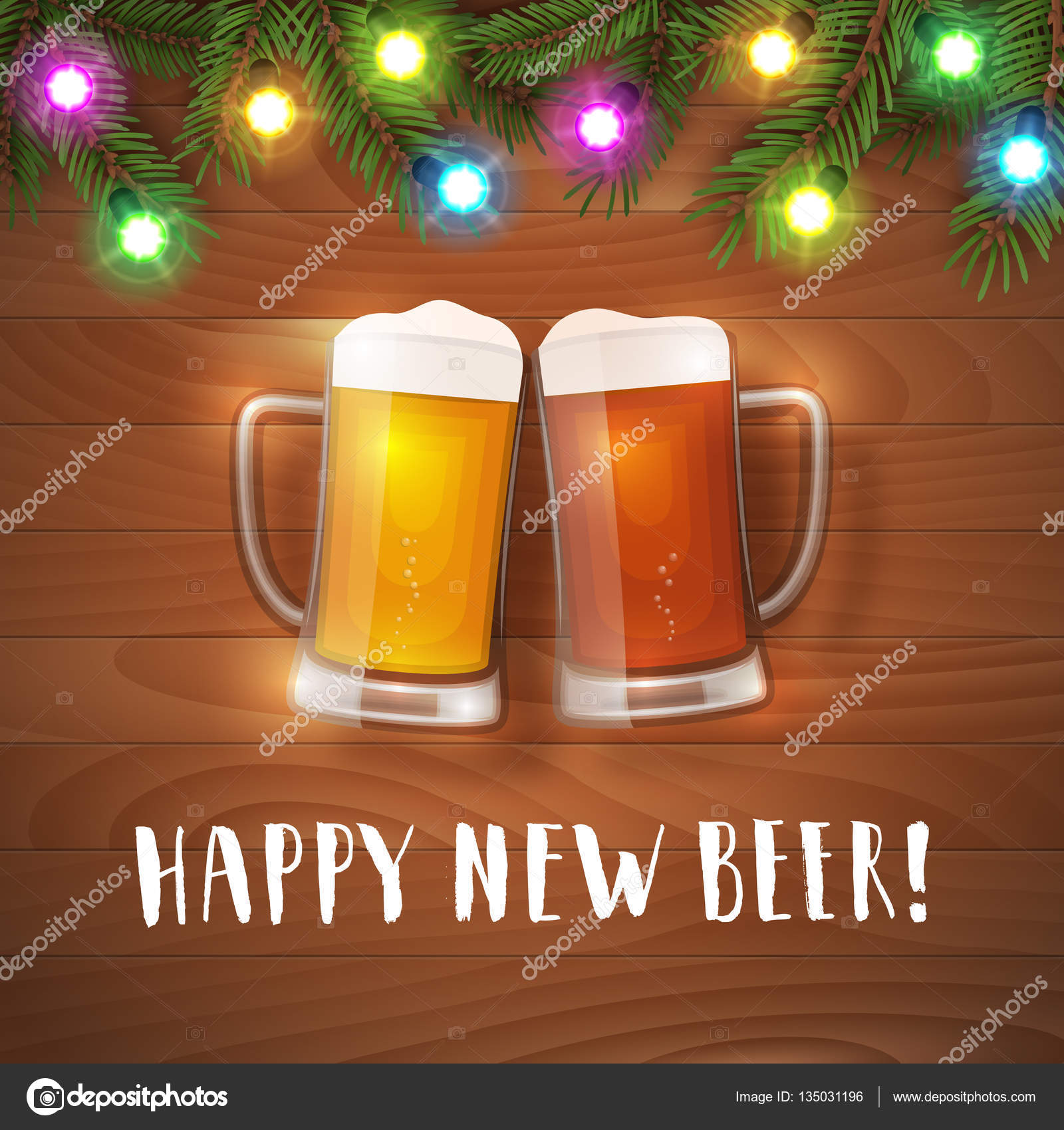 happy new beer mugs poster stock vector