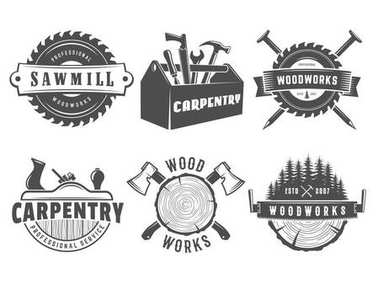Woodwork and carpentry logos.