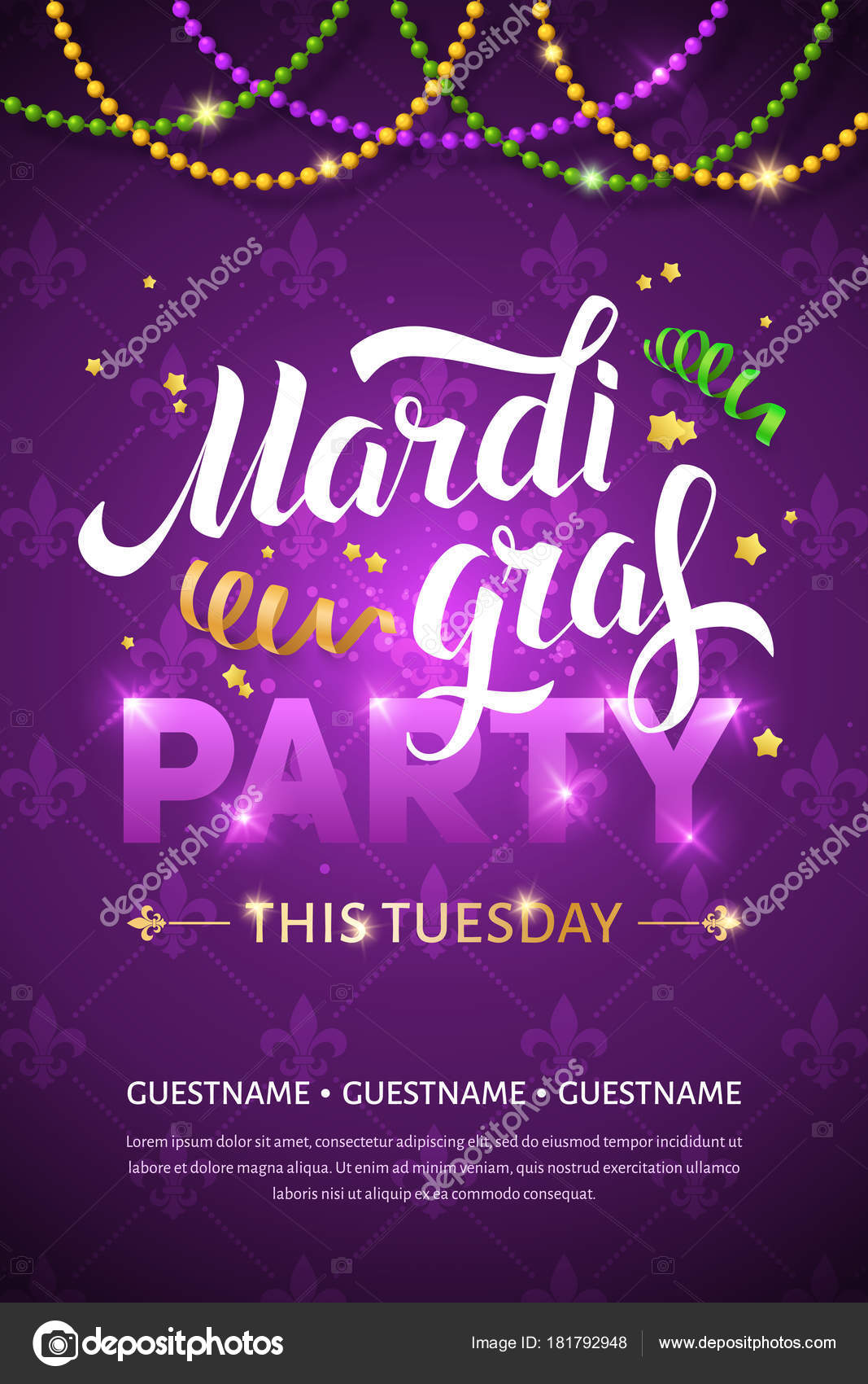 Mardi gras brochure vector logo hand drawn lettering ribbons fat mardi gras brochure vector logo with hand drawn lettering ribbons and fat tuesday symbols greeting card with shining beads on traditional colors m4hsunfo Images