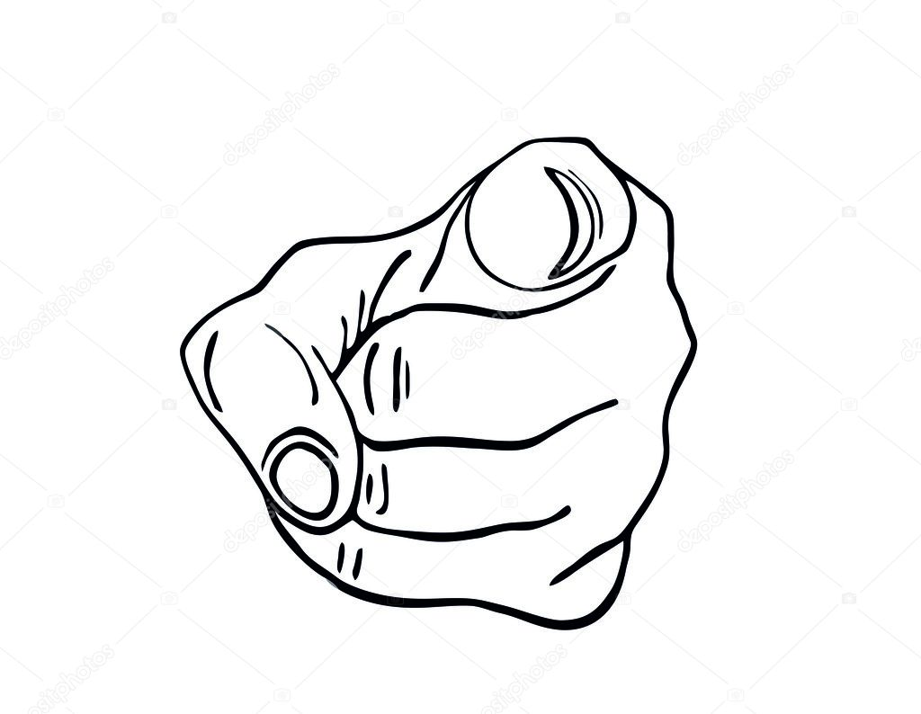 black hand pointing a finger at you figure is isolated stock