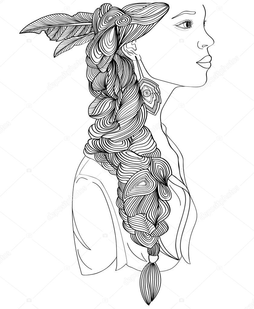 Perfil de la bella mujer India con trenza creativo — Vector de stock ...