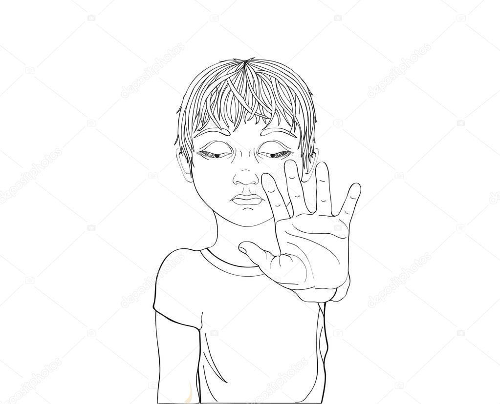 Imágenes Violencia De Genero Para Colorear Infeliz Niño