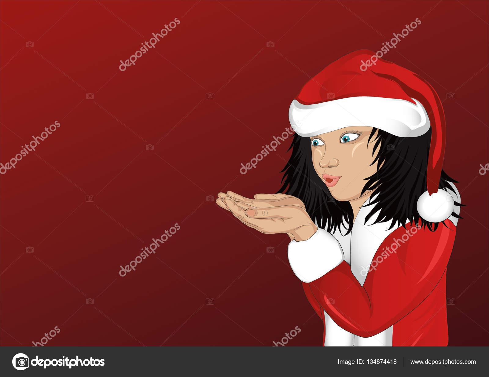 Chica feliz en traje de Santa Claus soplando copos de nieve de sus manos.  Vector. Tarjeta de Navidad sobre fondo rojo. Espacio vacío para la  publicidad. a6db8dc90ab