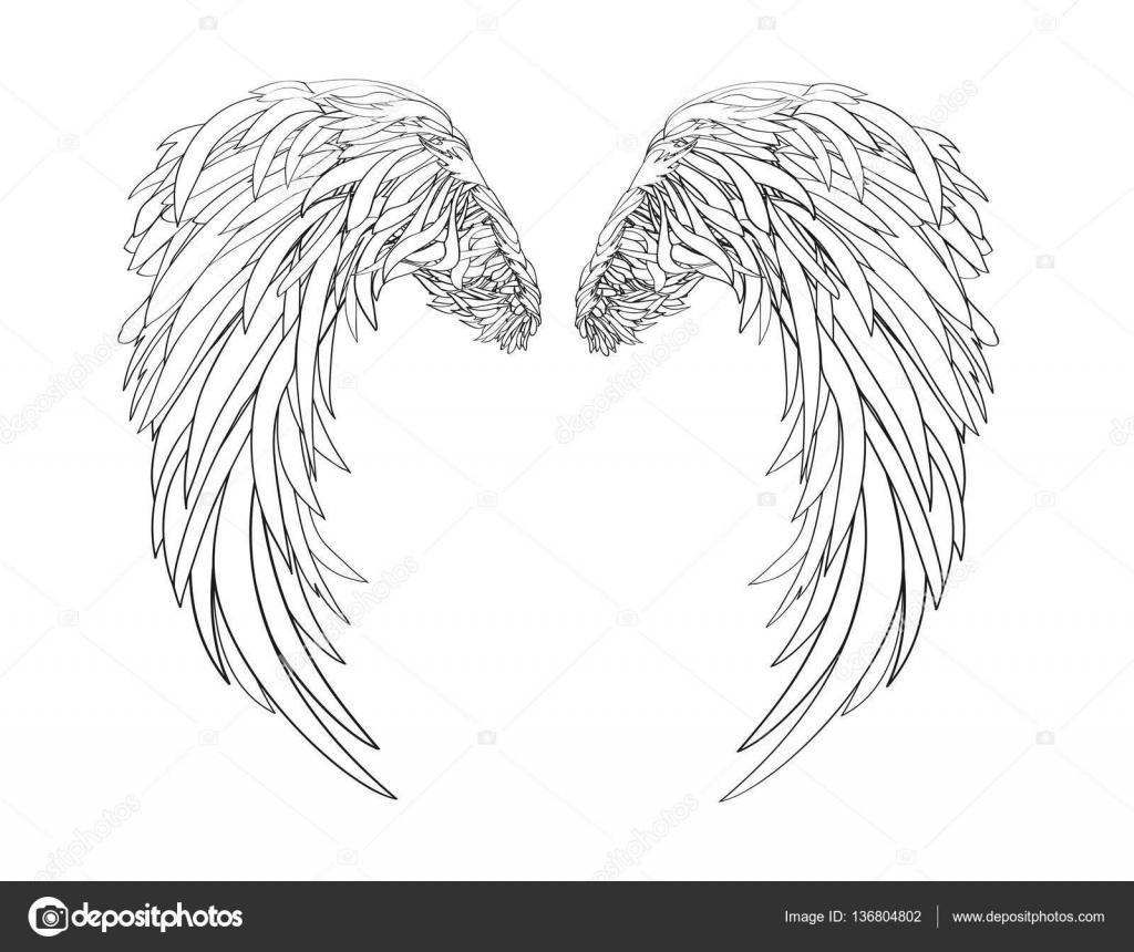 翼白の背景にベクトル イラスト黒と白のスタイル ストックベクター
