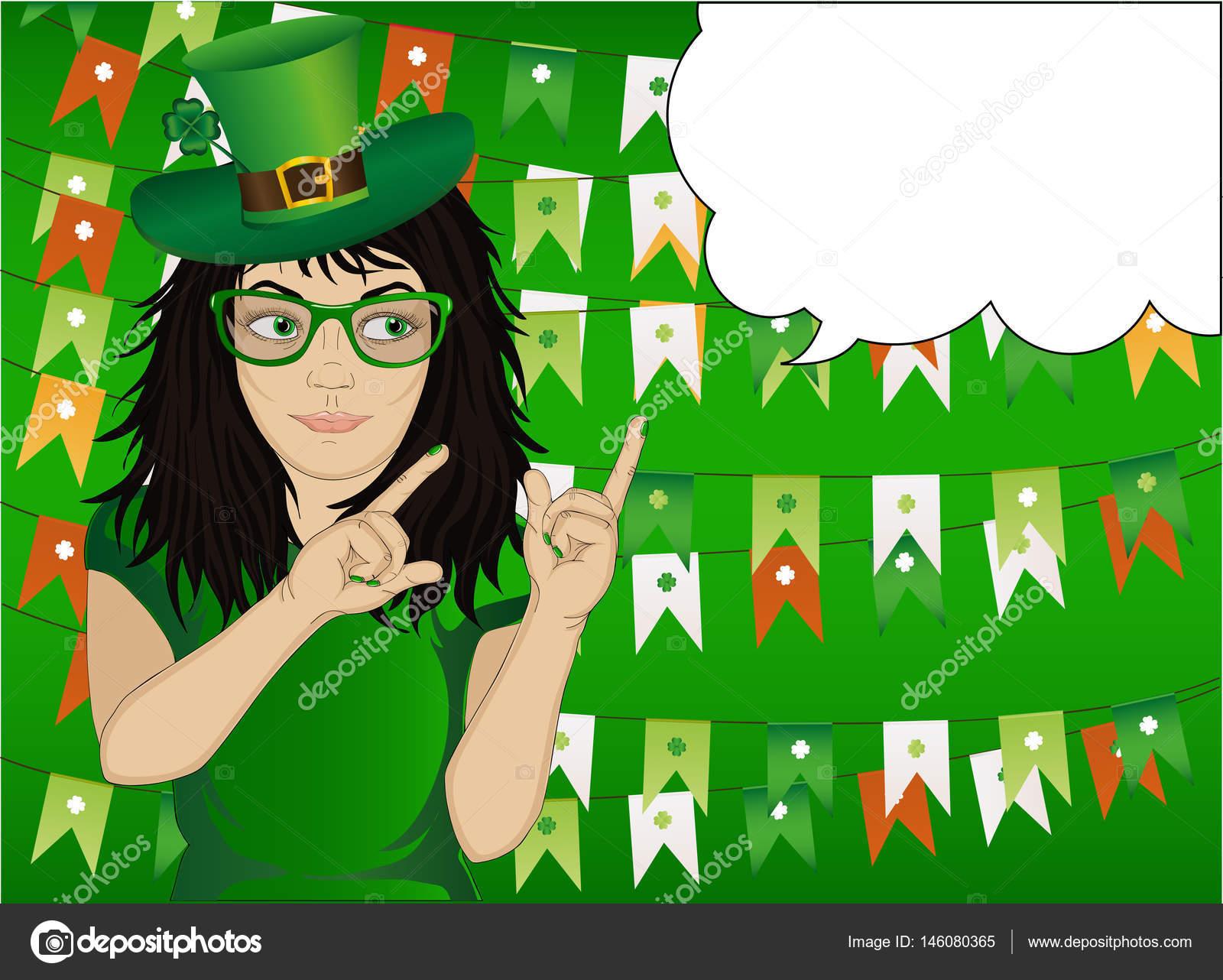 Ragazza in costume nazionale e cappello verde il giorno di San Patrizio  vacanza 2c825a1257d