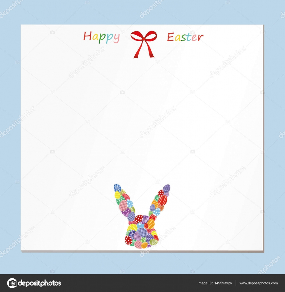 Empty blank for messages or greetings for easter eggs with a empty blank for messages or greetings for easter eggs with a pattern in the form of a bunny card for the holiday with a rabbit kristyandbryce Images