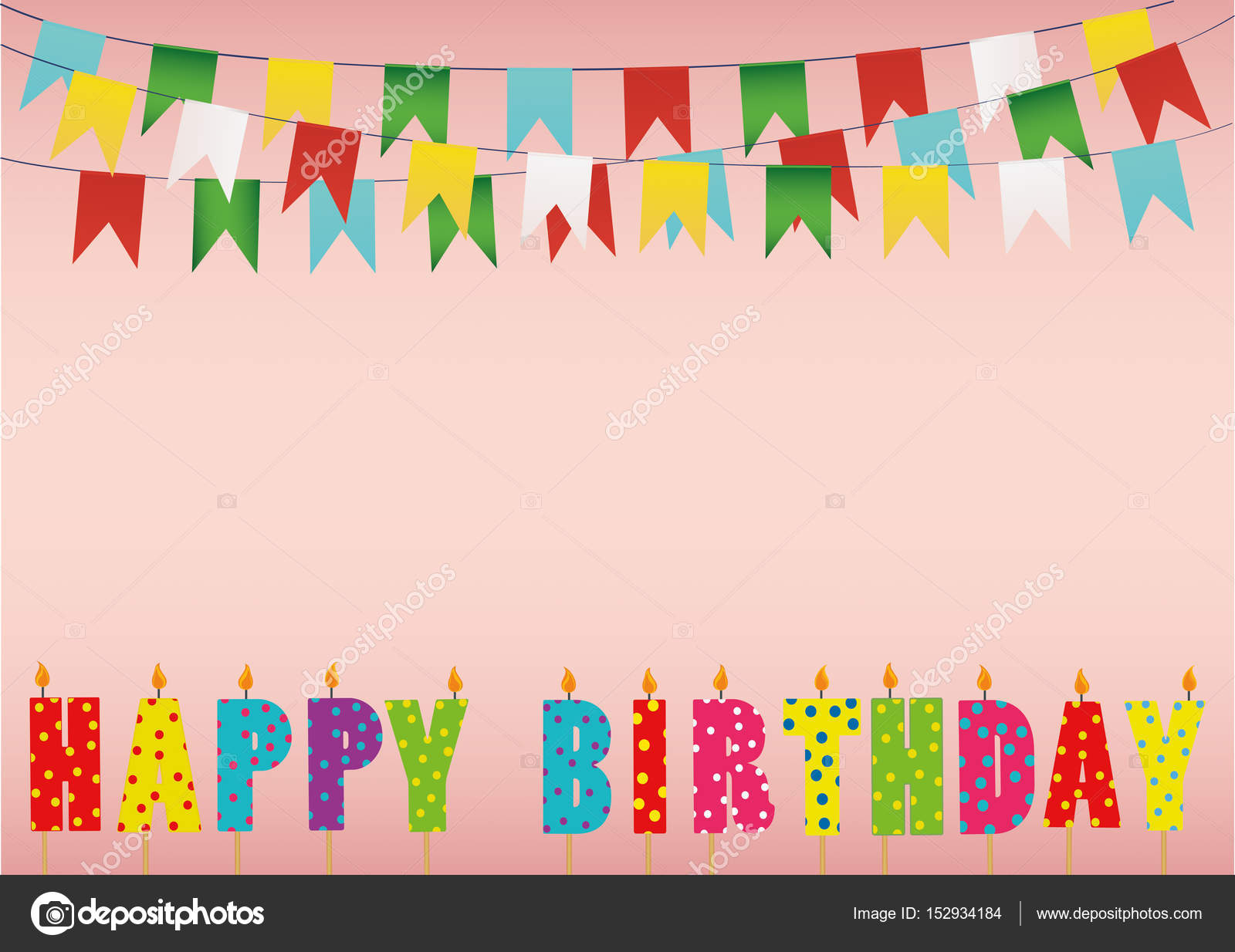 Colorful Happy Birthday Candles Rainbow Garland Of Flags Letter Stock Vector
