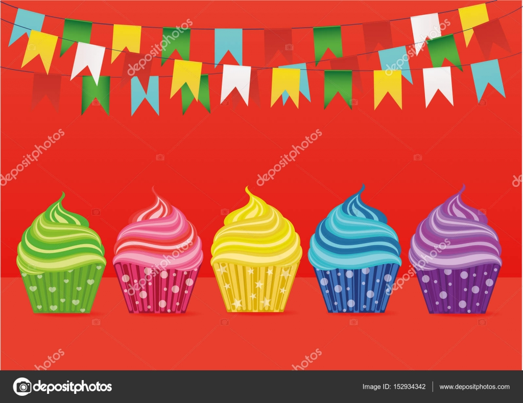 Multicolored Cupcakes Greeting Card For The Day Vector Free Space