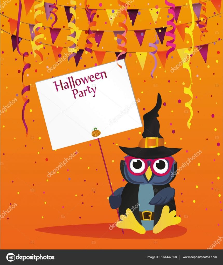 e832e39274 Dia das bruxas. Coruja em um chapéu com um convite para uma festa ...