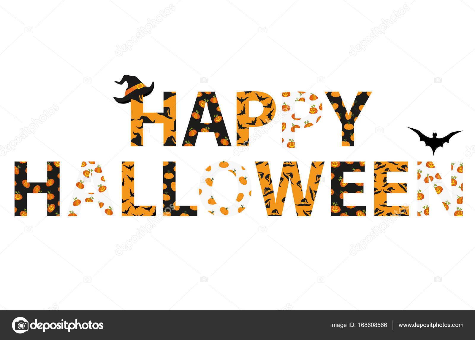Happy Halloween Napis Wektor Słowa Dla Zaproszenia Na Imprezę