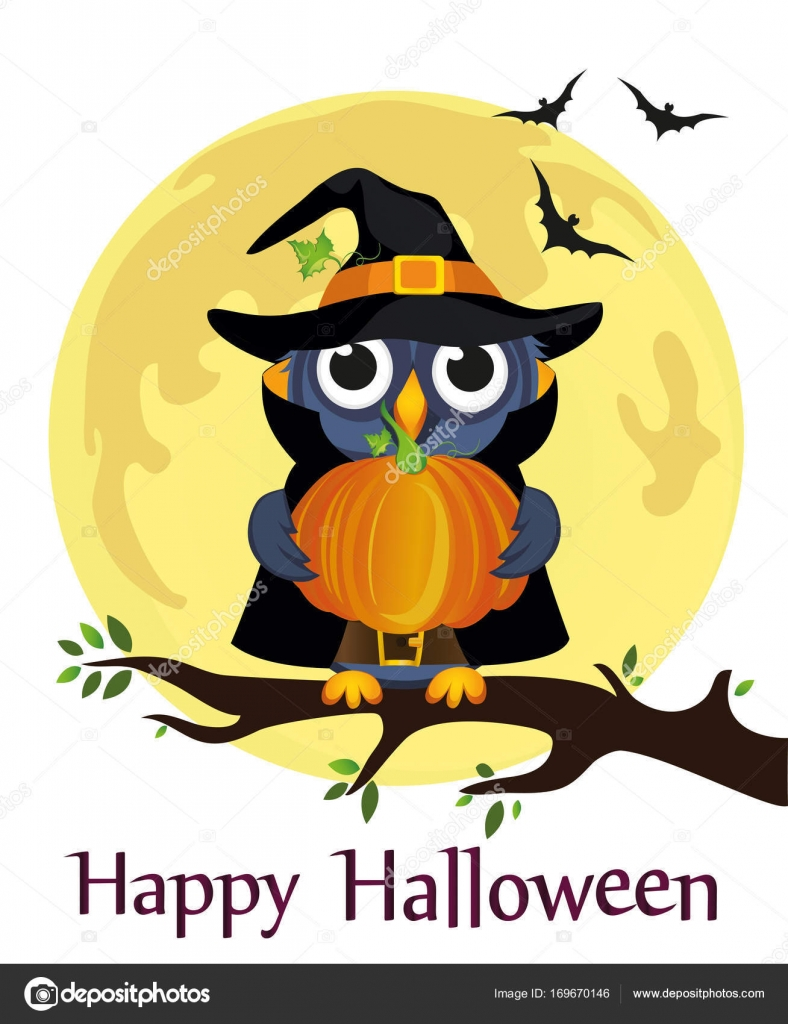 Halloween. Cartoon owl in a witch costume against a
